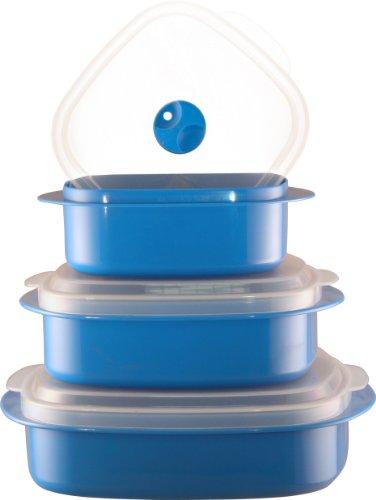 Reston Lloyd Calypso Basics 3-Piece Microwave Steamer Set, Azure