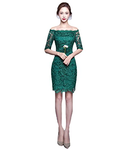 BessWedding Women's Short Green Strapless Off Shoulder Sexy Lace Party Gowns