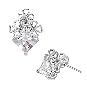 Pugster Apr Birthstone Clear White Crystal Square Clover Stud Earrings