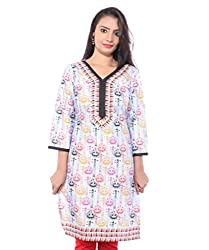 Lal Chhadi Women's Guitar Print 3/4 Sleeve Cotton Kurta
