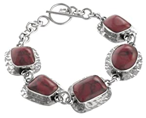 Sterling Silver and Simulated Red Jasper Link Bracelet, 7.5""