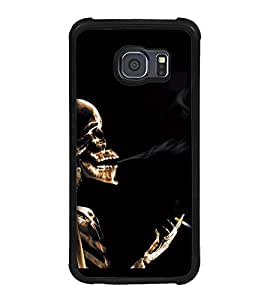 Fuson Premium 2D Back Case Cover Smoking devil With Brown Background Degined For Samsung Galaxy S6::Samsung Galaxy S6 G920