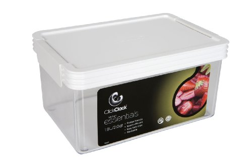 Click Clack Kitchen Essentials 2 Quart Airtight Container, White Lid (The Lid Maid compare prices)