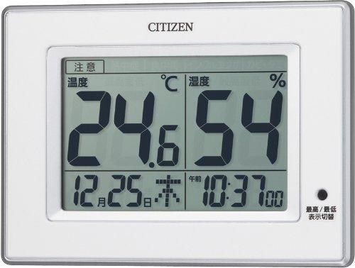 CITIZEN (シチズン) 温度湿度計 ライフナビD200 4種類の注意喚起 時刻表示 掛置き兼用 8RD200-003