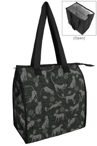 Cats CAT Reusable Insulated Grocery Shopping Bags ECO FRIENDLY GREEN Tote RE-USABLE INSULATED With Zipper
