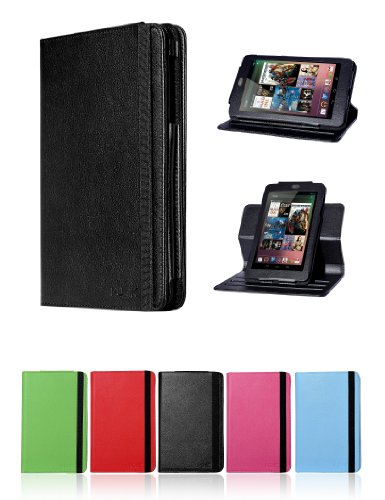 7 Inch Multi-Angles Google Nexus 7 Tablet Leather Protection Case by i-UniK (Expresso Black) - Colors Available: Hot Pink, Red, Lime Green, Light Blue, Expresso Black