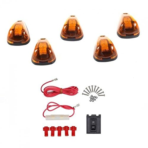 Partsam 5x Cab Roof Running marker Amber Light w/Amber 9-LED in for 1999-2016 Ford E/F+wiring Pack (2004 F250 Cab Lights compare prices)