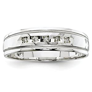 IceCarats Designer Jewelry Size 10 14K White Gold Aa Quality Trio Mens Wedding Band Ring.