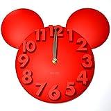 耳が可愛い!! 立体 3D ウォール クロック アニマルシルエット 壁掛け時計 (レッド)