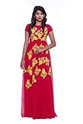 Red and yellow chiffon evening gown