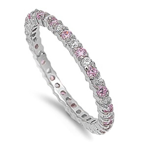 1.00 CT Sterling Silver Rhodium Plated Round Pink Sapphire CZ Cubic Zirconia Ladies Eternity Stackable Ring Wedding Anniversary Band (Available in size 6, 7, 8) size 8