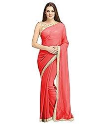 Sonani Fashion Red Designer Plain Georgette Party Wear Saree With Blouse Piece