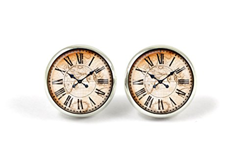 Clock Earrings, Cute Clock Watch Vintage World Map Stud Earrings (World Clock Watch compare prices)