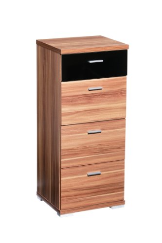 Premier Housewares Fargo Chest of Drawers with 4 Drawer/Walnut Veneer/Black High Gloss, 95 x 41 x 35 cm