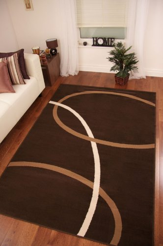 Chocolate Brown and Tan Modern Swirl Design Rug 240cm x 330cm (7ft 10