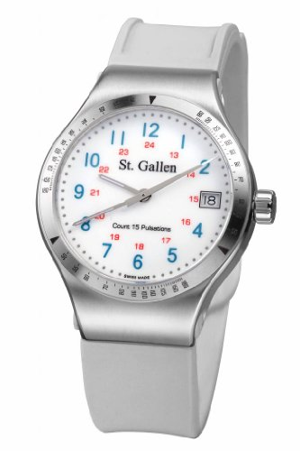 St. Gallen Disinfectable Watch - Florence Nightingale Collection - Quartz Watch, Counter For Pulsation Calibration, Ceramic White Color Dial