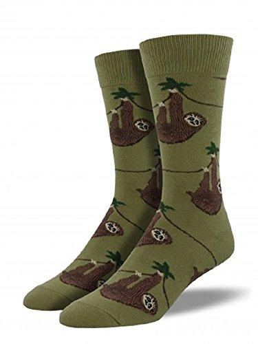 Socksmith-Mens-Novelty-Crew-Socks-Sloth-Olive