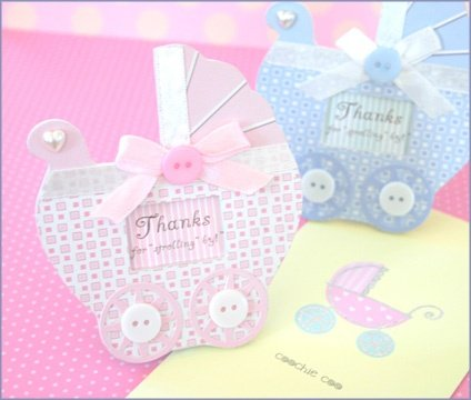 Thanks for Strolling By! Magnetic Baby Place Card Frames (Color=Blue)