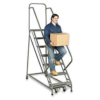"""Ega 50-Degree Stairway Slope Ladders With Square-Tube Frame: 8 Steps - 26""""Wx14""""D Top Step - With Handrails - Grip-Struta"""