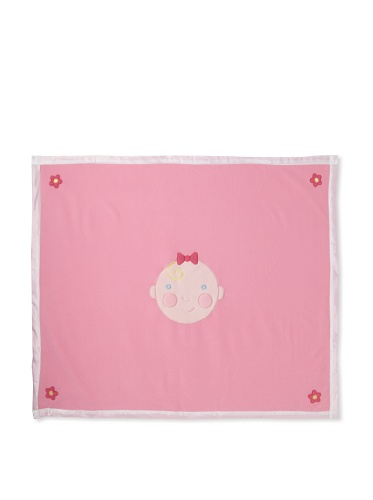 Jack Rabbit Creations Baby Face Fleece Blanket, Pink - 1