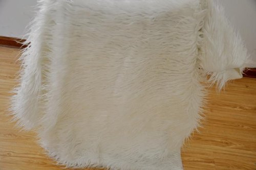 Newborn Baby Photography Photo Props Faux Wool Basket Stuffer Blanket Rug White front-223787