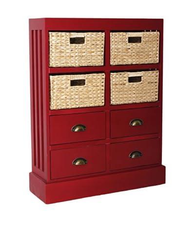 Gallerie Décor Nantucket 4-Drawer & 4-Basket Storage Unit, Red