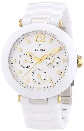 FESTINA F16641/3 - Reloj analógico de cuarzo para mujer con correa de cerámica, color blanco