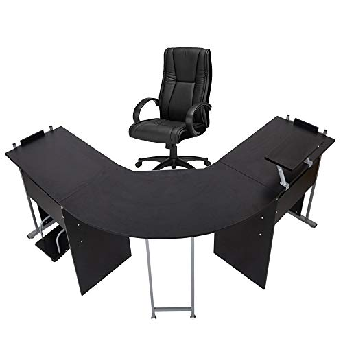"""71"""" L-Shaped Gaming Desk -Large Desktop Wood Corner Curved Computer Desk -Sturdy Symmetrical Desks PC Laptop Table Workstation for Writing Home Office, Black"""