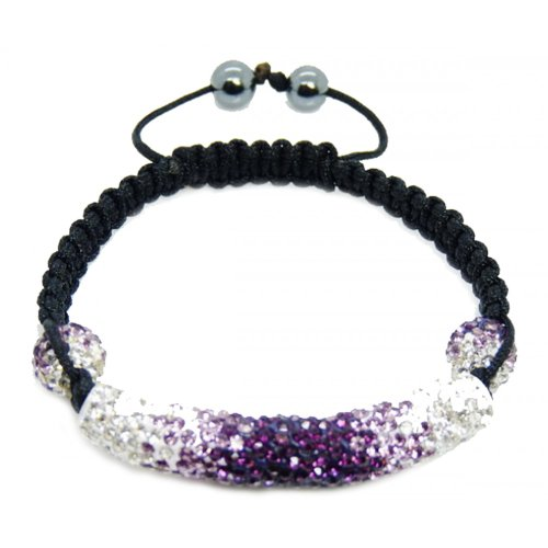 Sparkling Stylish Swarovski White and Purple Clear Crystal Shamballa Bracelet for Women and Men Multicolor Shamballa Tube and Beads
