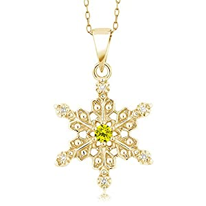 18K Yellow Gold Plated Silver Snowflake Pendant Canary and White Diamond (0.12 cttw, with 18 Inch Chain)