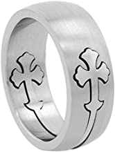 Surgical Steel Gothic Cross Ring 8mm Domed Wedding Band  sizes 7 - 14