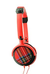 Urbanz- Tartan Fashion Headphones - Red