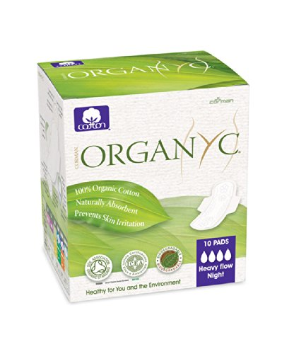 Organyc 100% Organic Cotton Heavy Flow Pads Folded, With Wings, 30 Count