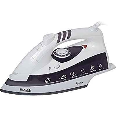 Inalsa Onyx 2000-Watt Steam Iron Ceramic coated  Sole plate ( White /Grey)