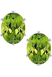 2.60 Ct Oval 8X6mm Green Peridot 925 Sterling Silver Stud Earrings