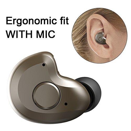世界最軽量ヘッドセットわずか3.8g Bluetooth ヘッドセット V4.1 Bluetooth ワイヤレスヘッドセット 片耳 ブルートゥース ヘッドセット Bluetooth ワイヤレスイヤホン 防汗防水 マイク内蔵 軽量小型 モノラル 高音質 ノイズキャンセリング搭載 iPhone Android などのスマートフォンに対応 by AngLink (ブラウン)