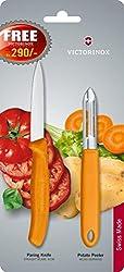 Victorinox Serrated Edge Potato Peeler with Free Knife, 2-Pieces, Orange