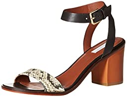 Cole Haan Women\'s Cambon Mid Dress Sandal, Black Leather/Roccia Snake Canvas/Acorn Suede, 7.5 B US