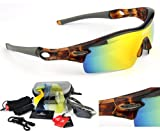 RIVBOS 805 POLARIZED Sports Sunglasses with 5 Set Interchangeable Lenses for Cycling
