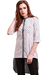 Grey Stripes High Low Shirt