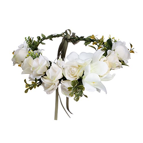 Bohemia Big Lilies Floral Crown Party Wedding Hair Wreaths Hair Bands Flower Headband (beige)
