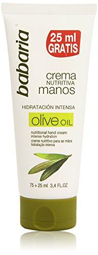 Babaria Crema Mani, Aceite de Oliva Crema Nutritiva Manos, 75 ml