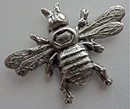 15 pieces LARGE Antique Silver Wide Wing BEE Push Pins - Electroplate Finish T136AS
