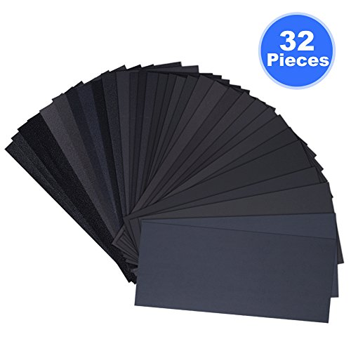 Wet Dry Sandpaper Assorted, 32 Pcs Abrasive Paper Sheets Assortment 120/ 150/ 180/ 240/ 320/ 400/ 600/ 800/ 1000/ 1200/ 1500/ 2000/ 2500/ 3000 Grit for Metal, Automotive, Wood, Furniture, 9 x 3.6 Inch (150 Grit Wet Dry Sandpaper compare prices)