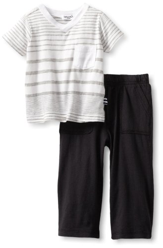 Best Price Splendid Littles Baby-boys  Border Stripe Jersey Pant Set, White, 18-24 Months
