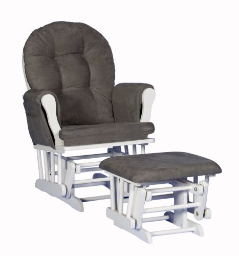 Stork Craft Custom Hoop Glider and Ottoman, White/Grey
