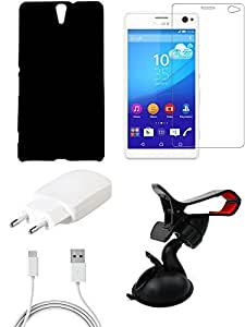 NIROSHA Tempered Glass Screen Guard Cover Case Charger Mobile Holder for Sony Experia C5 - Combo