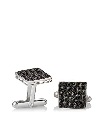 Stephen Oliver Sterling Silver Black Micro Pave Cz Cufflinks, 14MM