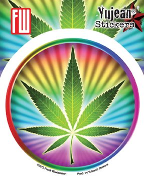 Frank Wiedemann - Psychedelic Pot Leaf - Sticker / Decal (Pot Leaf Decal compare prices)
