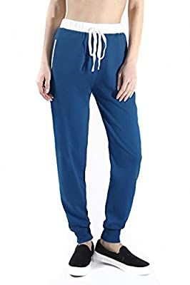 Sassy Apparel Women's Active Wear French Terry Jogger Pants with Drawstring